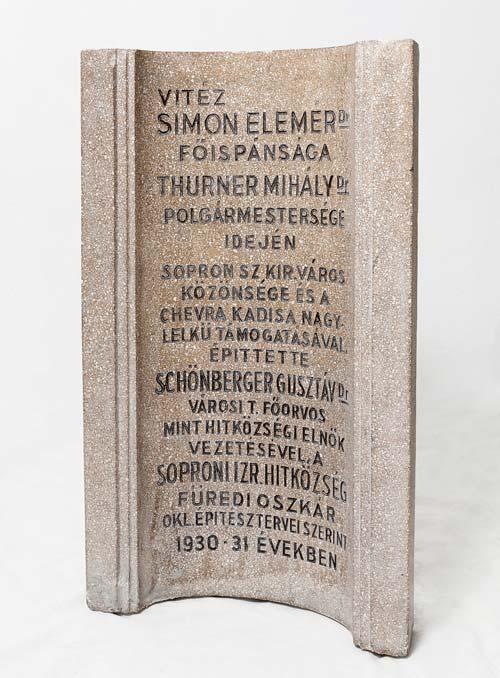 Íves emléktábla a Zsidó Polgári Otthonból, Sopron, 1931