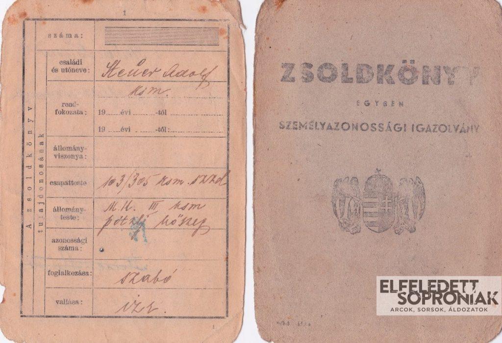 Steuer Adolf tűlélő munkaszolgálatos zsoldkönyve